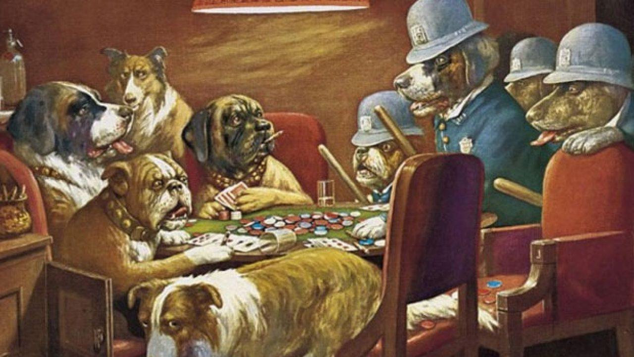 Quadro Cachorro Jogando Poker