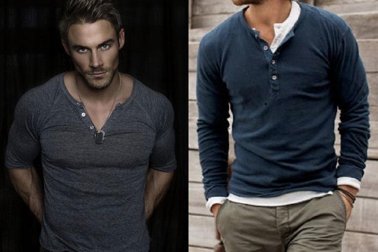 camiseta henley masculina