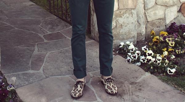 reyal fashion- maroon blazer- teal pants- leopard print sneakers- large black frame glasses