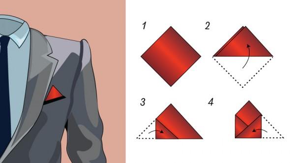 Lenço de bolso dobra triangular