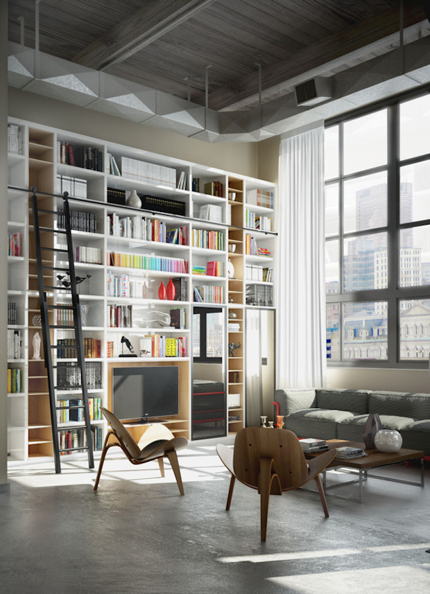 elegant-style-in-design-cool-palette-with-bright-accents-in-storage-library-concrete-floor-and-high-ceilings-2