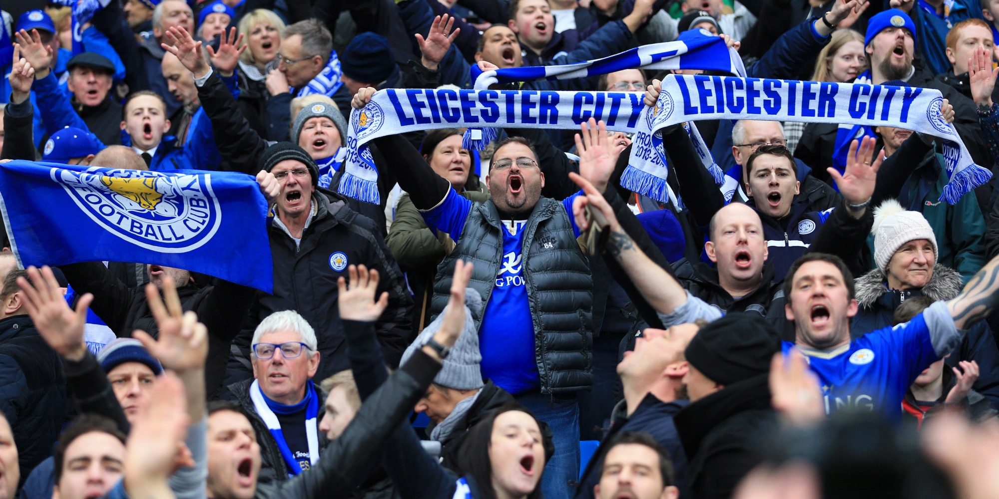 MANCHESTER, ENGLAND - FEBRUARY 06: Leicester fans celebrate during the Barclays Premier League match between Manchester City and Leicester City at the Etihad Stadium on February 6, 2016 in Manchester, England. (Photo by Simon Stacpoole/Mark Leech Sports Photography/Getty Images)