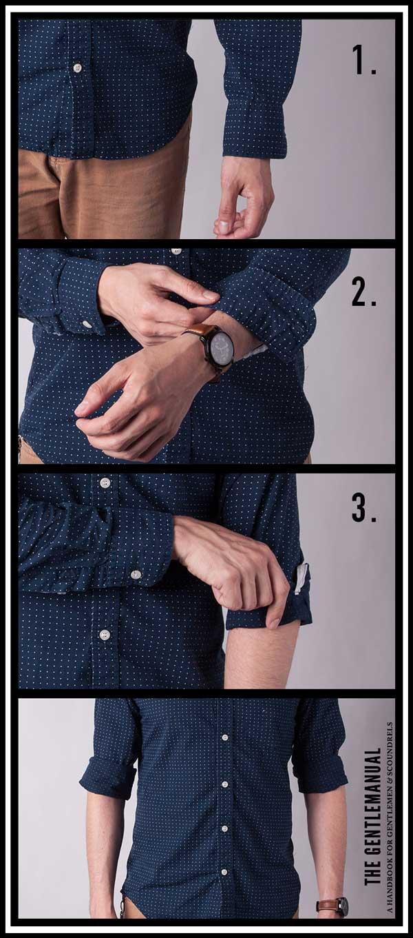 como dobrar a manga da camisa